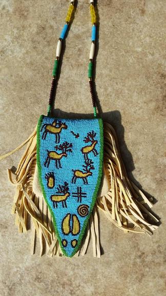 Elk Hieroglyphic Ottertail Medicine Bag