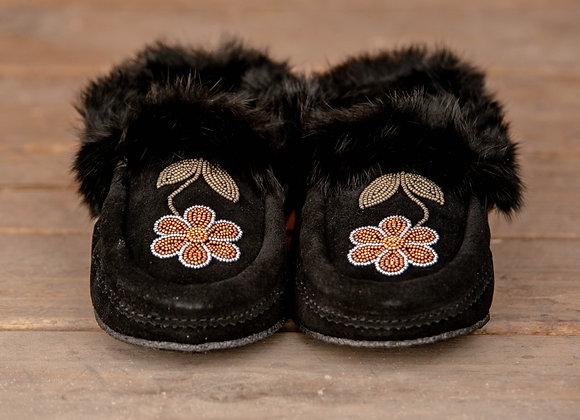Métis Black Suede & Fur Moccasin Slippers