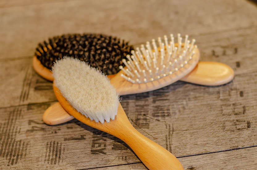 Wood Hair Brushes with Natural Bristles