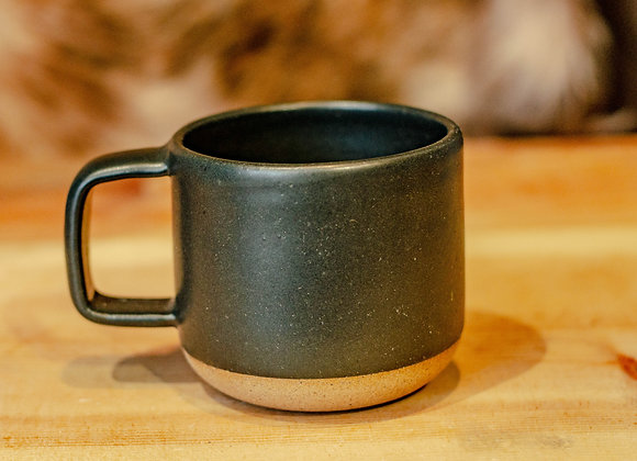 Square Handle Matte Black Coffee Mug