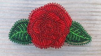 Beaded Red Rose Hair Barrette