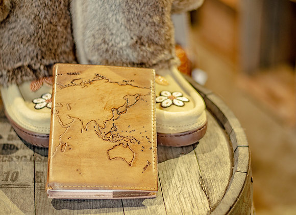 World Map Refillable Leather Journal