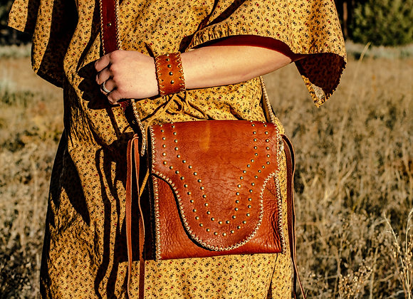 """Possibles Bag"" Handmade Buffalo Leather Handbag in Tobacco Ombre"