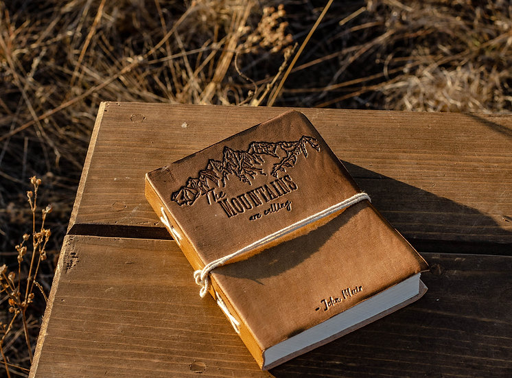 The Mountains are Calling Leather Journal