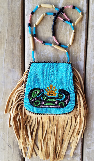 Beaded Otter Canoe Medicine Bag