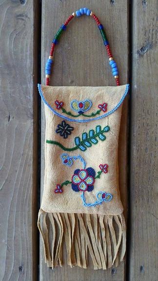 Beaded Floral Design Strike a Light Bag Leather