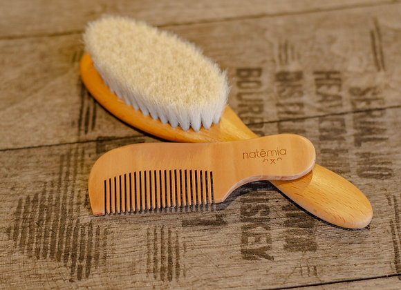 Wooden Baby Comb and Brush Set