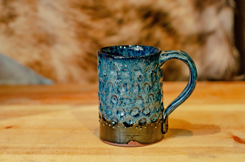 12oz Texture Blue Coffee Cup