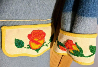 Rose Beaded Leather and Wool Capote