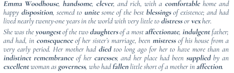"""Excerpt from Jane Austen's """"Emma"""" with key words highlighted by bold text. This facilitates text skimming while retaining the important content."""