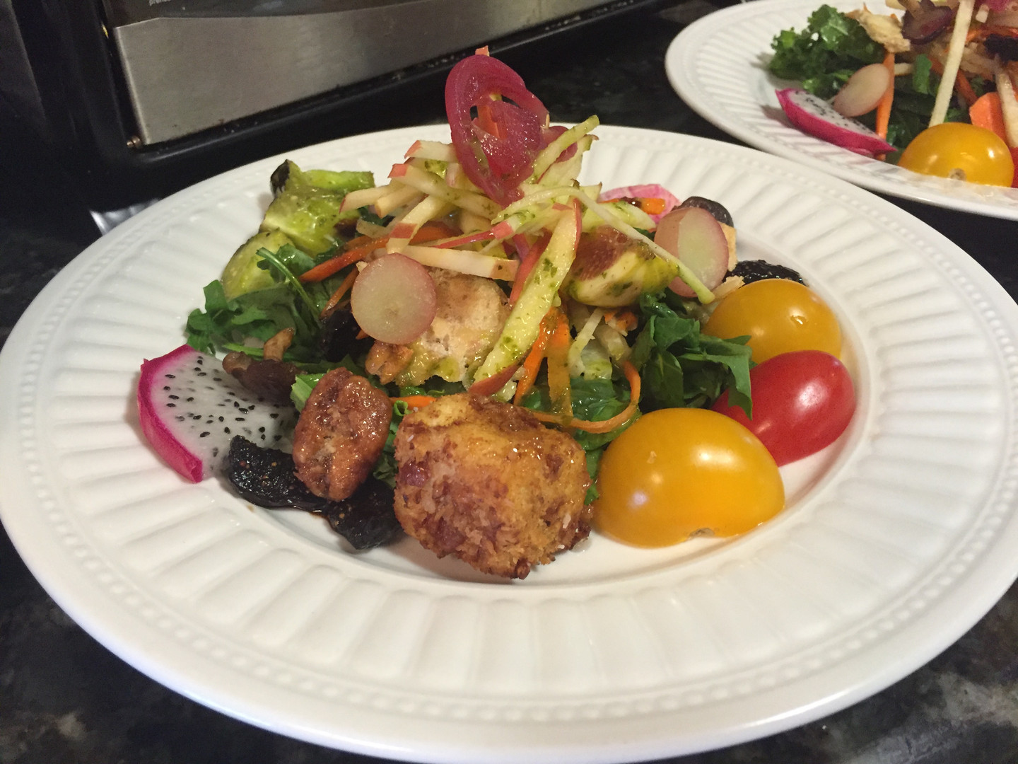 Summer Veggie salad with Panko fried goat cheese cubes