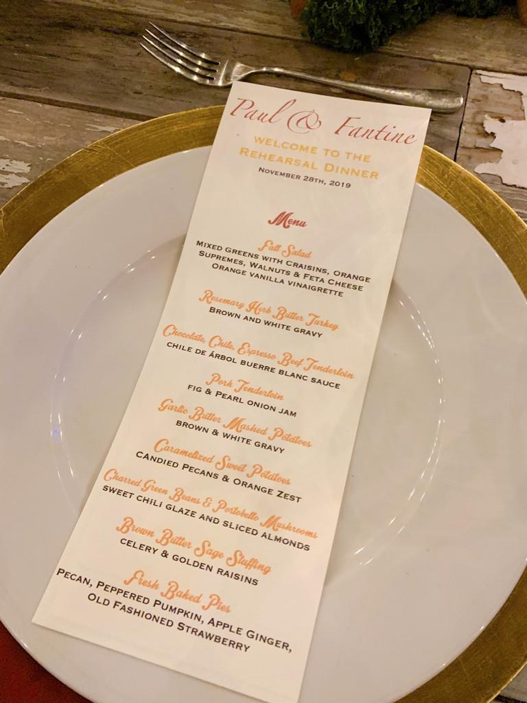 menu cards at p[lace settings