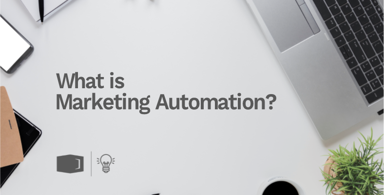 """Laptop with the words """"What Is Marketing Automation?"""" on it."""
