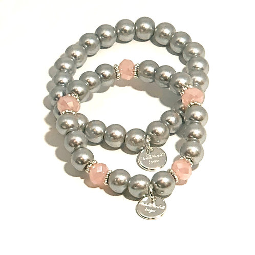 Silver and Pink Stretch bracelet Set