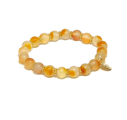 Light Apricot Jade Stretch Bracelet