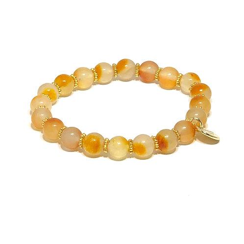 Light Apricot Jade Stretch Bracelet