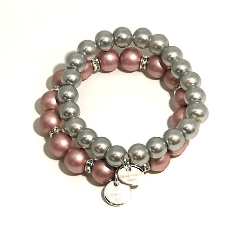 Silver and Mauve Glass Pearl Set