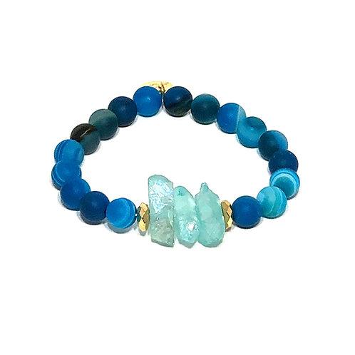Striped Blue Agate Bracelet