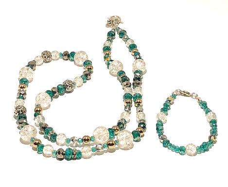 Aqua Crystal Necklace and Bracelet Set