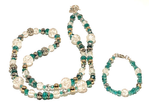 Aqua Crystal Necklace and Bracelet Set