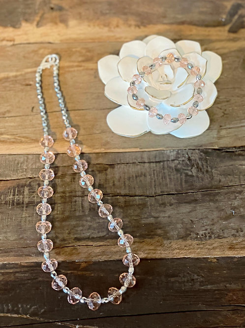 Rosé Necklace and Bracelet set