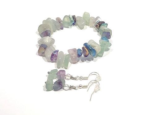 Pastel Stone Bracelet and Earring Set - Stretch