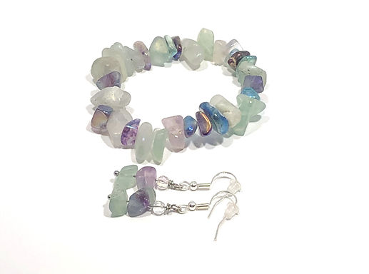 Pastel Stone Bracelet and Earring Set - Stretch