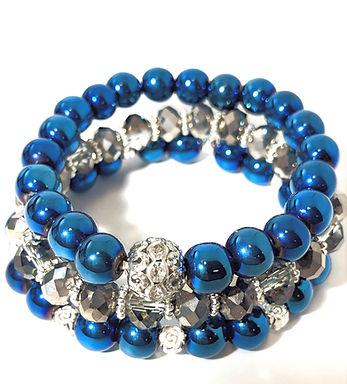 Blue and Silver Stretch Bracelet Set