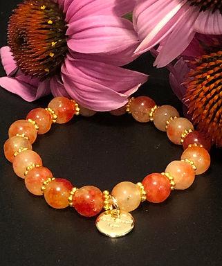 Vibrant Orange Jade Bracelet - Stretch