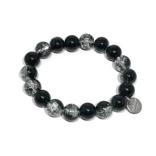 Black and Silver Bracelet - Stretch