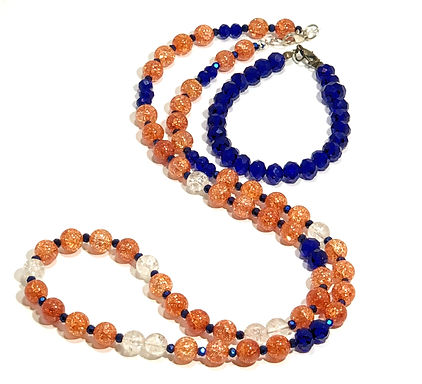 Orange and Blue Necklace and Bracelet Set