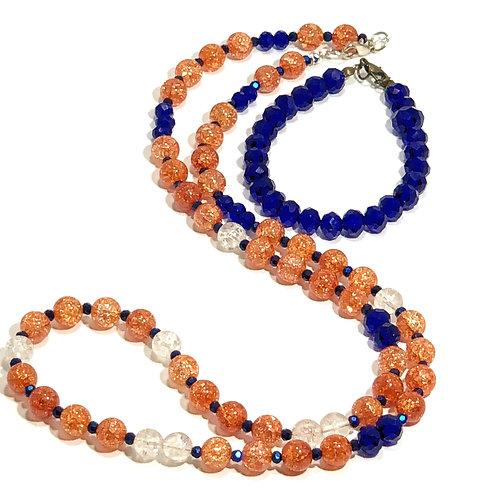 Orange and Blue Necklace and Bracelet Set