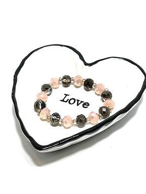 Pink and Gray Shimmer Bracelet - Stretch