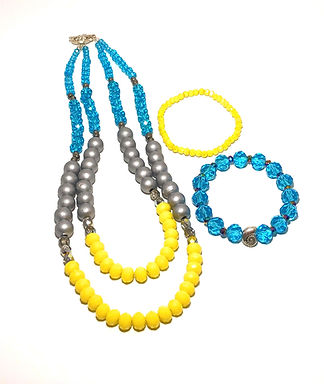 Turquoise and Yellow Double Tiered Necklace Set