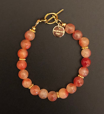 Vibrant Orange Jade Bracelet - Clasp
