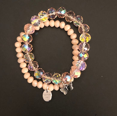 Pale Pink Butterfly Stretch Bracelet Set