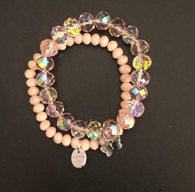 Pale Pink Butterfly Stretch Bracelet Set