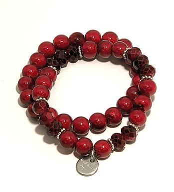Ruby Red Stretch Bracelet Set