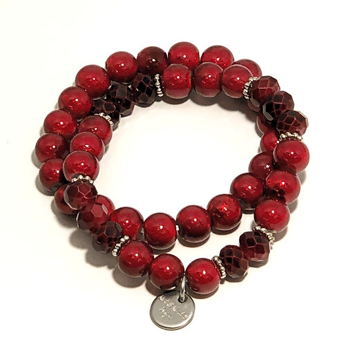 Ruby Red Stretch Bracelet Set