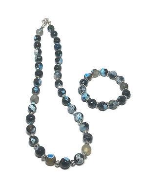 Deep Sea Agate Necklace and Bracelet