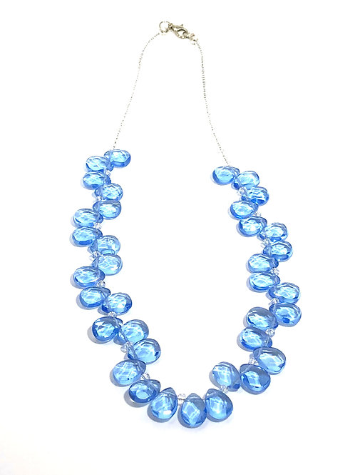 Aqua Quartz Teardrop Necklace