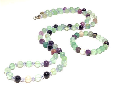 Rainbow Fluorite Necklace and Bracelet Set