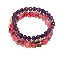 Amethyst and Jade Stretch Bracelet Set