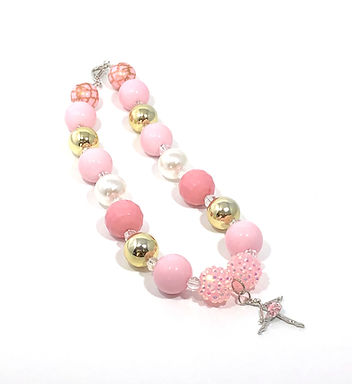 Pink Bubble and Gold Bubble Gum Necklace