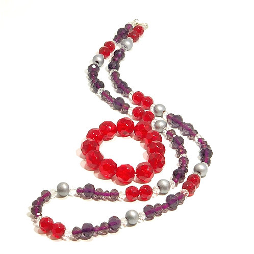 Cherry and Grape Necklace and Bracelet set