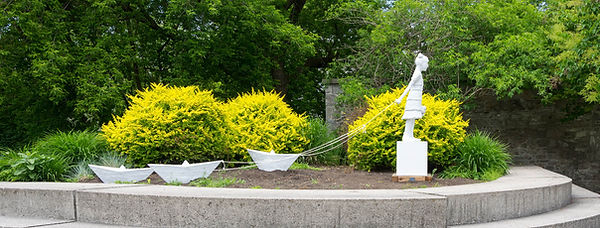 Public Art, Outdoor Sculpture, The Girl with Paper Boats by W.W. Hung, Montcalm-Taché Park, Gatineau, Quebec, Presented by Patrimoine canadien/Heritage Canada