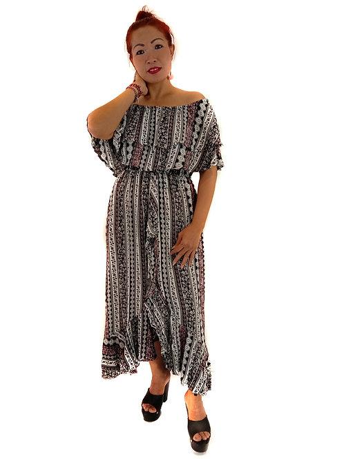 Women Resort Wear Clothing 2020 - D41100 Black Border Print