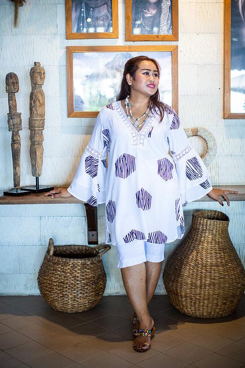 Women Resort Wear Clothing Plus Size 2020 - D41116  White/Black Foil