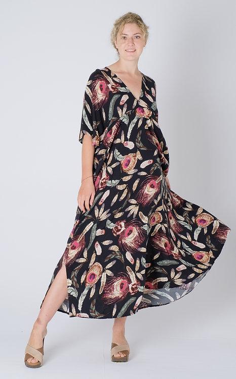 Woman Resort Wear Clothing Plus Size 2020 - D4721 Long Black Feather Print