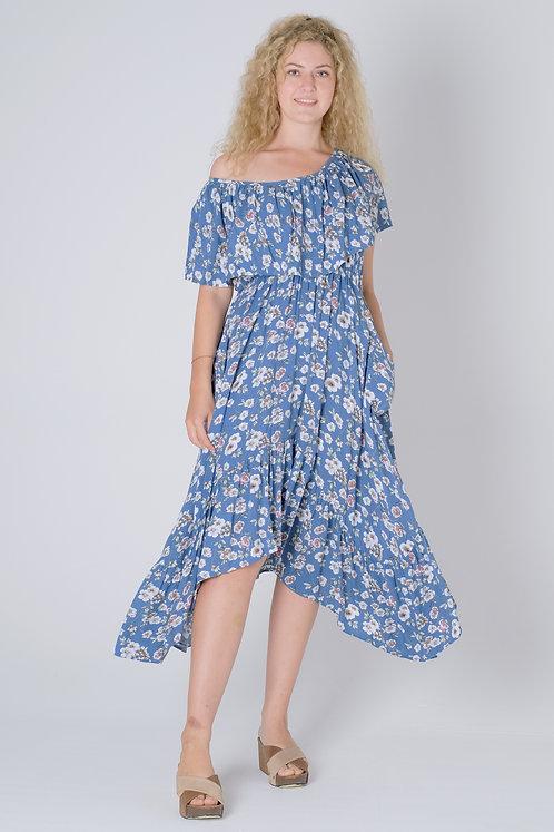 D41063B - Blue Flower Print - Rayon Super
